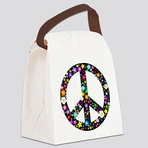 Hippie Flowery Peace Sign Canvas Lunch Bag