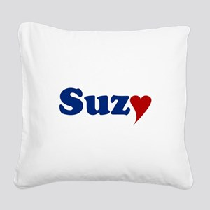 Suzy with Heart Square Canvas Pillow