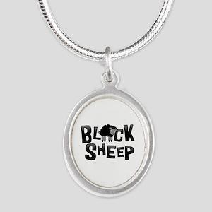 Black Sheep Dark Silver Oval Necklace