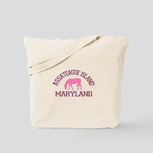 Assateague Island MD - Ponies Design. Tote Bag