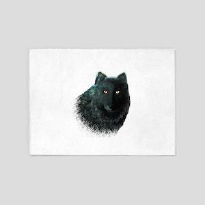 Black Wolf 5'x7'Area Rug