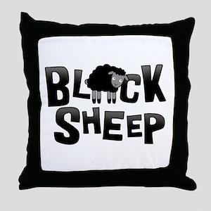 Black Sheep Dark Throw Pillow