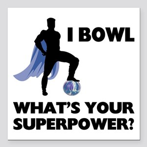 "Bowling Superhero Square Car Magnet 3"" x 3"""