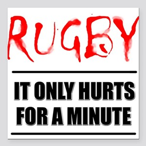 """FIN-rugby only hurts text Square Car Magnet 3"""""""