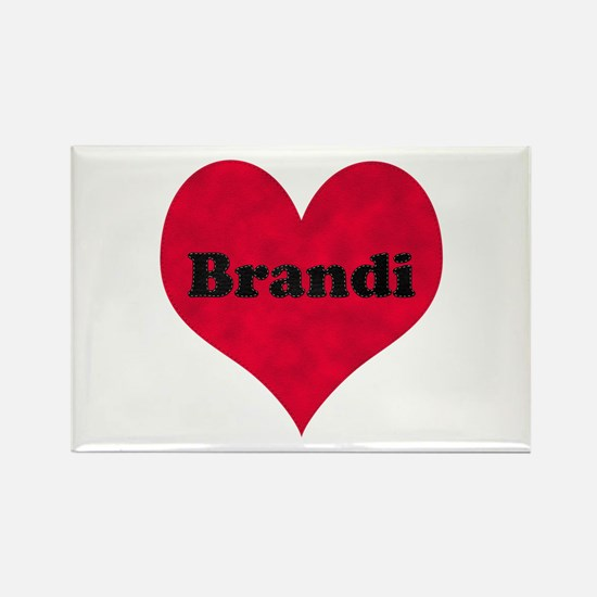 Brandi Leather Heart Rectangle Magnet