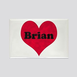 Brian Leather Heart Rectangle Magnet