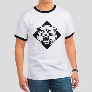 Davidson Wildcat Mascot Head Black Red Ringer T