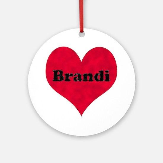 Brandi Leather Heart Round Ornament