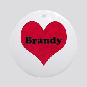 Brandy Leather Heart Round Ornament