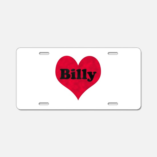 Billy Leather Heart Aluminum License Plate