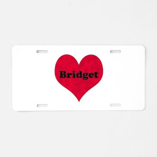 Bridget Leather Heart Aluminum License Plate