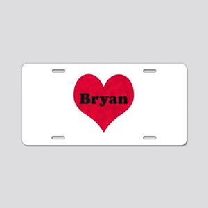Bryan Leather Heart Aluminum License Plate