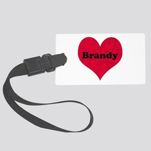 Brandy Leather Heart Large Luggage Tag