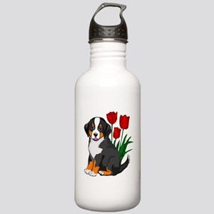 bernese puppy and tulips Stainless Water Bottle 1.