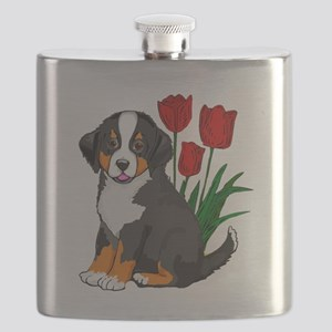 bernese puppy and tulips Flask