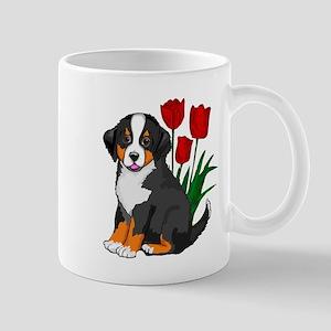 bernese puppy and tulips Mug