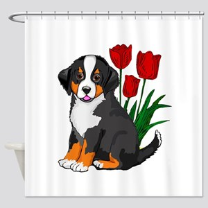 bernese puppy and tulips Shower Curtain