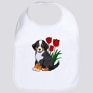 bernese puppy and tulips Bib