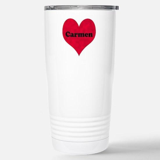 Carmen Leather Heart Stainless Steel Travel Mug