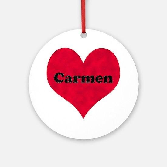 Carmen Leather Heart Round Ornament