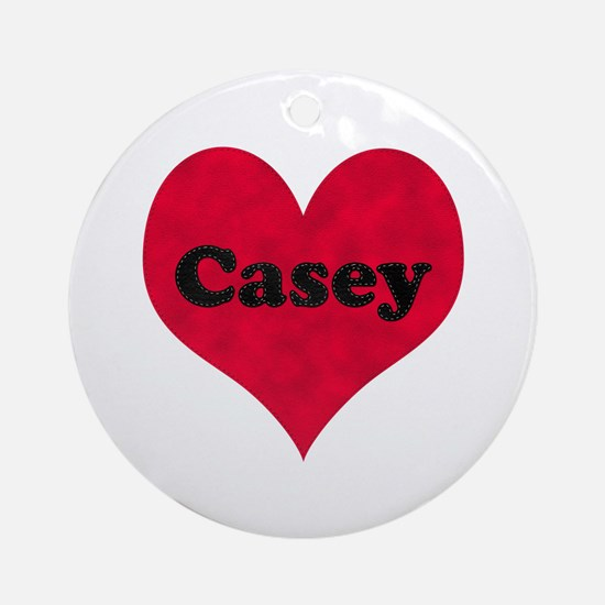 Casey Leather Heart Round Ornament