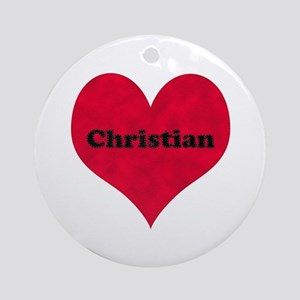 Christian Leather Heart Round Ornament