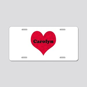 Carolyn Leather Heart Aluminum License Plate