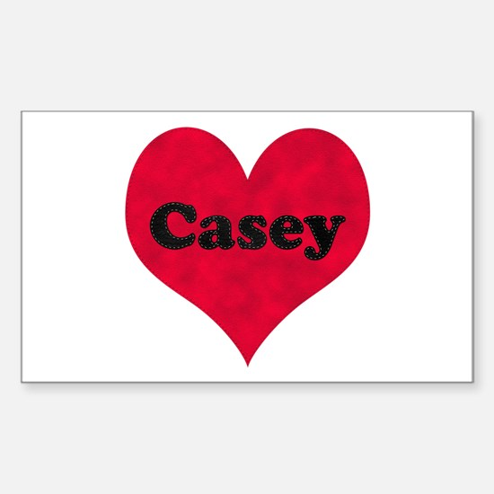 Casey Leather Heart Rectangle Decal