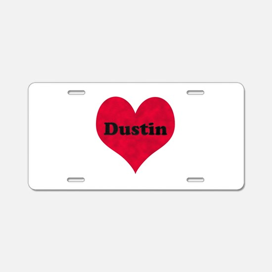 Dustin Leather Heart Aluminum License Plate
