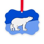 Polar Bear Mom and Cub Picture Ornament