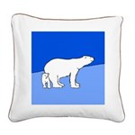 Polar Bear Mom and Cub Square Canvas Pillow