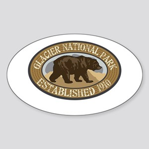 Glacier Brown Bear Badge Sticker (Oval)