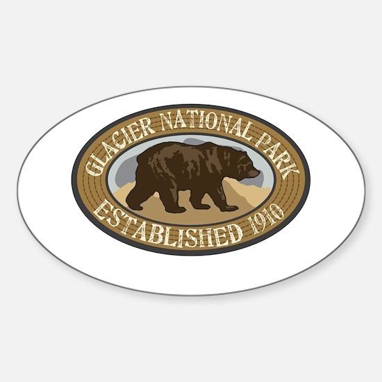 Glacier Brown Bear Badge Sticker (Oval)