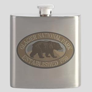 Glacier Brown Bear Badge Flask