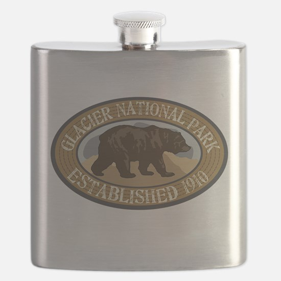 Glacier Brown Bear Badge Flask