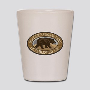 Glacier Brown Bear Badge Shot Glass
