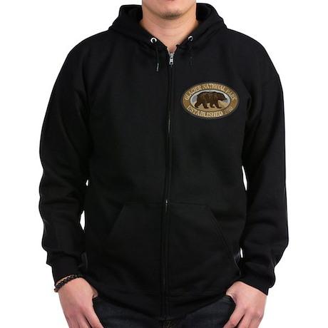 Glacier Brown Bear Badge Zip Hoodie (dark)