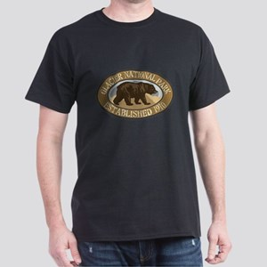 Glacier Brown Bear Badge Dark T-Shirt