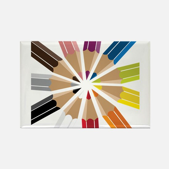Colored Pencils Rectangle Magnet