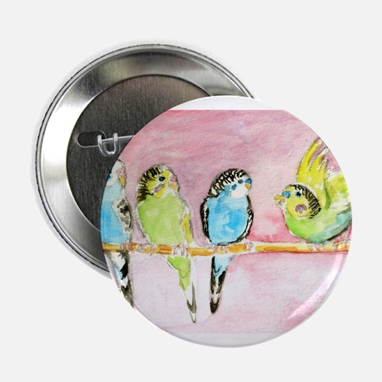 "Parakeets Posturing 2.25"" Button (10 pack)"
