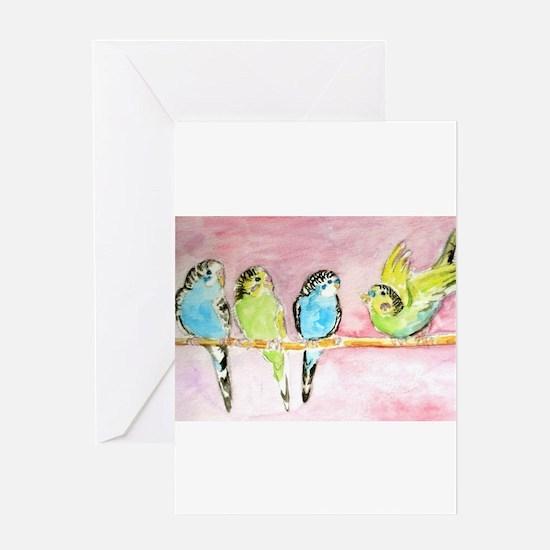 Parakeets Posturing Greeting Card