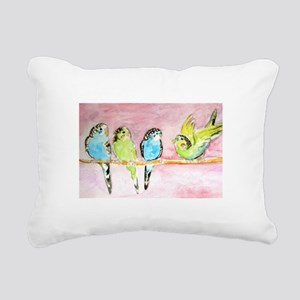 Parakeets Posturing Rectangular Canvas Pillow