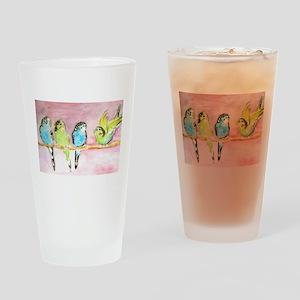Parakeets Posturing Drinking Glass