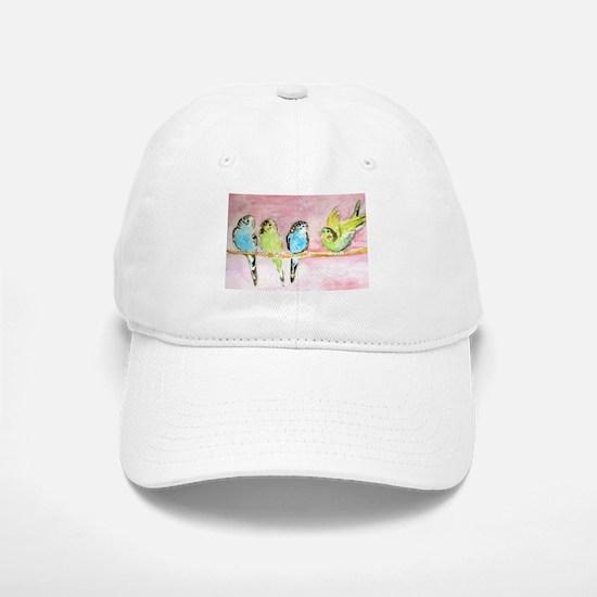 Parakeets Posturing Baseball Baseball Cap