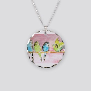 Parakeets Posturing Necklace Circle Charm