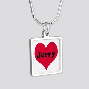 Jerry Leather Heart Silver Square Necklace