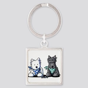 KiniArt™ Terrier Twosome Square Keychain
