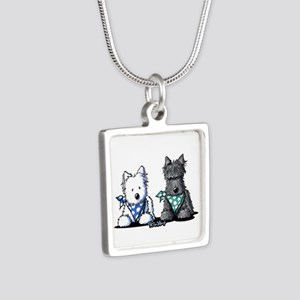 KiniArt™ Terrier Twosome Silver Square Necklace