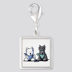 KiniArt™ Terrier Twosome Silver Square Charm