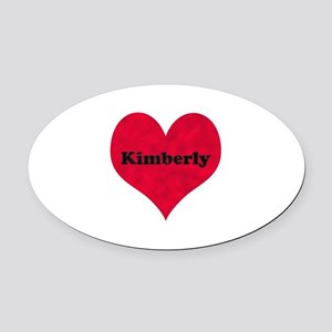 Kimberly Leather Heart Oval Car Magnet